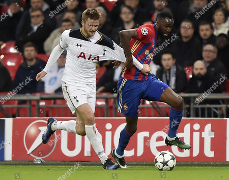 Cska Moscows Lacina Traore (r) Vies For the Ball with Tottenham Hotspur's Eric Dier (l) During the Uefa Champions League Group E Soccer Match Between Tottenham Hotspur and Cska Moscow at Wembley Stadium in London Britain 07 December 2016 United Kingdom London