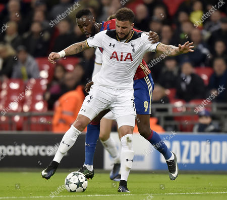 Cska Moscows Lacina Traore (r) Vies For the Ball with Tottenham Hotspur's Kyle Walker (l) During the Uefa Champions League Group E Soccer Match Between Tottenham Hotspur and Cska Moscow at Wembley Stadium in London Britain 07 December 2016 United Kingdom London