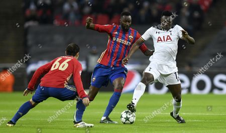 Victor Wanyama (r) of Tottenham in Action Against Bibras Natcho (l) and Lacina Traore (c) of Cska Moscow During the Uefa Champions League Group E Soccer Match Between Tottenham Hotspur and Cska Moscow at Wembley in London Britain 07 December 2016 United Kingdom London
