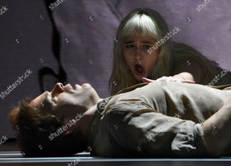Us Actors Michael C Hall (l) and Sophia Anne Caruso (r) Perform the 'Life on Mars' Scene of the 'Lazarus' Play at the Kings Cross Theatre in London Britain 03 November 2016 'Lazarus' was Written by the Late British Musician David Bowie and the Irish Playwright Enda Walsh the Production Inspired by the Novel 'The Man who Fell to Earth' was Directed by the Belgian Theater Director Ivo Van Hove United Kingdom London