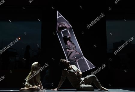 Us Actors Michael C Hall (r) and Sophia Anne Caruso (l) Perform the 'Life on Mars' Scene of the 'Lazarus' Play at the Kings Cross Theatre in London Britain 03 November 2016 'Lazarus' was Written by the Late British Musician David Bowie and the Irish Playwright Enda Walsh the Production Inspired by the Novel 'The Man who Fell to Earth' was Directed by the Belgian Theater Director Ivo Van Hove United Kingdom London