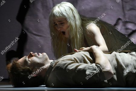 Stock Picture of Us Actors Michael C Hall (l) and Sophia Anne Caruso (r) Perform the 'Life on Mars' Scene of the 'Lazarus' Play at the Kings Cross Theatre in London Britain 03 November 2016 'Lazarus' was Written by the Late British Musician David Bowie and the Irish Playwright Enda Walsh the Production Inspired by the Novel 'The Man who Fell to Earth' was Directed by the Belgian Theater Director Ivo Van Hove United Kingdom London