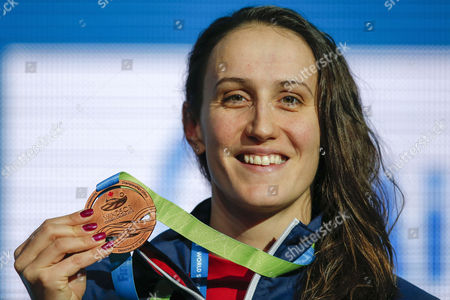 Georgia Davies of Britain Poses with Her Bronze Medal After Finishing Third in the Women's 100m Backstroke Final During the 13th Fina Short Course World Swimming Championships at Wfcu Centre in Windsor Ontario Canada 07 December 2016 Canada Windsor