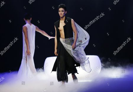Stock Picture of Models Present Creations From the to Heart Series by Chinese Designers Qi Gang and Chen Kun During the Mercedes-benz China Fashion Week in Beijing China 28 October 2016 the Fashion Week Runs From 25 October to 02 November China Category Beijing