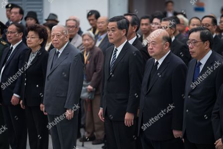 Former Hong Kong Chief Executive Tung Chee-hwa (3-l) Hong Kong Chief Executive Leung Chun-ying (3-r) Chief Justice Geoffrey Ma Tao-li (2-r) and Legislative Council President Andrew Leung (r) Attend a Ceremony Commemorating the Nanjing Massacre National Memorial Day in Hong Kong China 13 December 2016 the Nanjing Massacre Memorial Day Commemorates the Date when Japanese Soldiers Massacred Over 40 000 Chinese Civilians and Unarmed Combatants During the Second Sino-japanese War on 13 December 1937 China Hong Kong