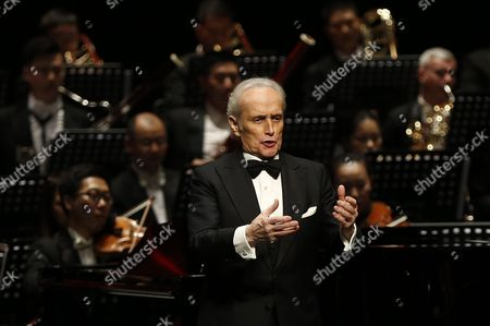 Spanish Tenor Jose Carreras Performing in the Poly Theatre the Last Stop of His China Tour 'A Life in Music: Final World Tour' in Beijing China 20 November 2016 Known As One of the Famous Three Tenors Alongside Placido Domingo and Luciano Pavarotti Jose Carreras Performs with Chinese Pianist Li Yundi and Irish Soprano Celine Byrne in Beijing His Final Stop of His Three-city China Tour Including Wuhan and Shenzhen China Beijing