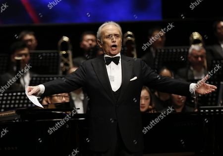 Stock Picture of Spanish Tenor Jose Carreras Performs in the Poly Theatre the Last Stop of His China Tour 'A Life in Music: Final World Tour' in Beijing China 20 November 2016 Known As One of the Famous Three Tenors Alongside Placido Domingo and Luciano Pavarotti Jose Carreras Took to the Stage in Beijing with Chinese Pianist Li Yundi and Irish Soprano Celine Byrne in His Final Stop of His Three-city China Tour Including Wuhan Shenzhen and Beijing China Beijing