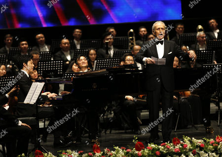Stock Image of Spanish Tenor Jose Carreras Performs in the Poly Theatre the Last Stop of His China Tour 'A Life in Music: Final World Tour' in Beijing China 20 November 2016 Known As One of the Famous Three Tenors Alongside Placido Domingo and Luciano Pavarotti Jose Carreras Took to the Stage in Beijing with Chinese Pianist Li Yundi and Irish Soprano Celine Byrne in His Final Stop of His Three-city China Tour Including Wuhan Shenzhen and Beijing China Beijing