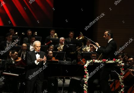 Stock Photo of Spanish Tenor Jose Carreras Performs in the Poly Theatre the Last Stop of His China Tour 'A Life in Music: Final World Tour' in Beijing China 20 November 2016 Known As One of the Famous Three Tenors Alongside Placido Domingo and Luciano Pavarotti Jose Carreras Took to the Stage in Beijing with Chinese Pianist Li Yundi and Irish Soprano Celine Byrne in His Final Stop of His Three-city China Tour Including Wuhan Shenzhen and Beijing China Beijing