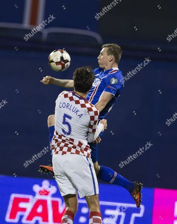 Iceland's Eidur Gudjohnsen (r) in Action Against Croatia's Vedran Corluka (l) During the Fifa World Championships 2018 Qualification Soccer Match Between Croatia and Iceland in Zagreb Croatia 12 November 2016 Croatia Zagreb