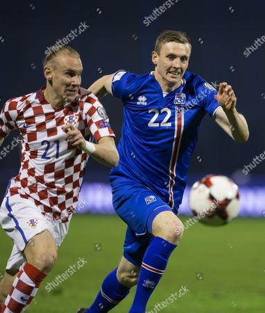 Stock Image of Iceland's Eidur Gudjohnsen (r) in Action Against Croatia's Domagoj Vida (l) During the Fifa World Championships 2018 Qualification Soccer Match Between Croatia and Iceland in Zagreb Croatia 12 November 2016 Croatia Zagreb
