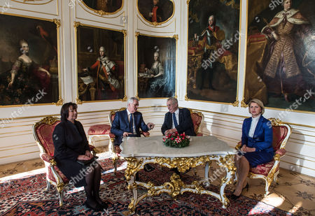 Serbian President Tomislav Nikolic (c-l) and His Wife Wife Dragica Nikolic ( L) and Czech President Milos Zeman (c-r) and His Wife Ivana Zemanova Are Seen Prior Their Meeting at Prague Castle in Prague Czech Republic 29 November 2016 Nikolic Arrived For a One-day State Visit to Prague Czech Republic Prague