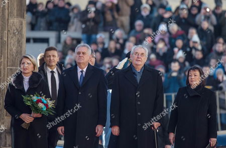 Serbian President Tomislav Nikolic (c-l) and His Wife Wife Dragica Nikolic ( L) and Czech President Milos Zeman (c-r) and His Wife Ivana Zemanova Arrives For Welcoming Ceremony at Prague Castle in Prague Czech Republic 29 November 2016 Nikolic Arrived For a One-day State Visit to Prague Czech Republic Prague