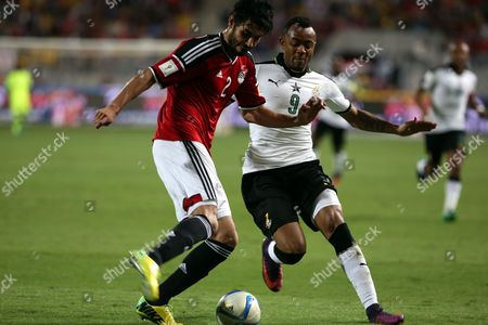 Ali Gabr of Egypt (l) in Action Against Jordan Ayew of Ghana During the 2018 Fifa World Cup Qualifying Soccer Match Between Egypt and Ghana at Borg Al Arab Stadium in Alexandria Egypt 13 November 2016 Egypt Alexandria