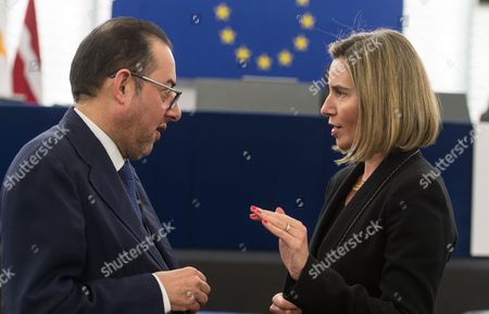 Italian Gianni Pitella (l) From the Group of the Progressive Alliance of Socialists and Democrats in the European Parliament Speaks with Federica Mogherini (r) High Representative of the Eu For Foreign Affairs and Security Policy Before the Plenary Session at the European Parliament in Strasbourg France 13 December 2016 France Strasbourg