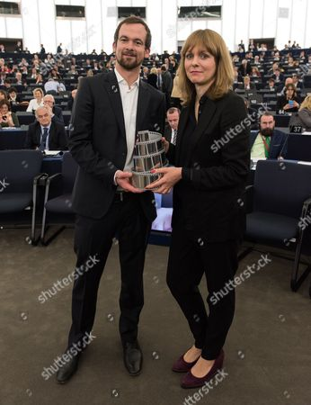 Lux Prize Winner German Producer Jonas Dornbach and German Film Director Maren Ade Poses For the Photographers in the European Parliament in Strasbourg France 23 November 2016 the European Parliament Awarded the Lux Prize 2016 to the German-austrian-romanian Co-production Toni Erdmann France Strasborg