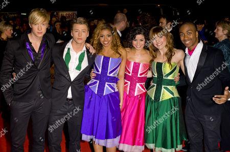 Cast of Britannia High - Matthew James Thomas, Mitch Hewer Rana Roy, Sapphire Elia, Georgia Hagen and Marcquelle Ward