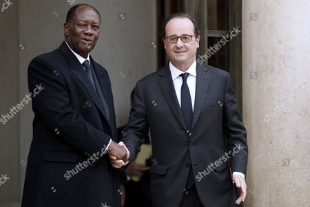 French President Francois Hollande (r) Greets Ivory Coast President Alassane Dramane Ouattara (l) After Their Meeting at the Elysee Palace in Paris France 22 November 2016 France Paris