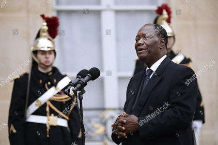 Ivory Coast President Alassane Dramane Ouattara Speaks to Journalists After His Meeting with French President Francois Hollande at the Elysee Palace in Paris France 22 November 2016 France Paris