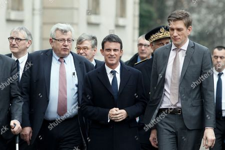 Prime Minister Manuel Valls (c) Meurthe-et-moselle Department President Mathieu Klein (r) and French Junior Minister For Budget Christian Eckert (l) Arrive at the Meurthe-et-moselle Department in Nancy France 02 December 2016 Hollande on 01 December 2016 Announced He Will not Run For Re-election As French President France Nancy