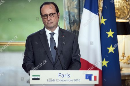 Syrian Opposition High Comity General Coordinator Riyad Hijab (not Pictured) and French President Francois Hollande Hold a Press Conference at the Elysee Palace Following a Meeting in Paris France 12 December 2016 France Paris