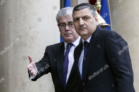 Syrian Opposition High Committee General Coordinator Riyad Hijab (r) is Welcomed by French President Francois Hollande's Diplomatic Advisor Jacques Audibert at the Elysee Palace Upon His Arrival For a Meeting with the President in Paris France 12 December 2016 France Paris