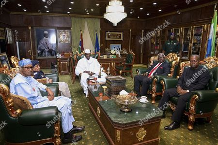 A Photograph Made Available on 14 December 2016 Shows (l-r) President of Nigeria Muhammadu Buhari President of Liberia Ellen Muhammadu Buhari President of Gambia Yahya Jammeh President of Sierra Leone Ernest Bai Koroma and Outgoing President of Ghana John Dramani Mahama During Talks at the State House in Banjul Gambia 13 December 2016 the Talks Come in the Wake of Yahya Jammeh's Refusal to Accept Election Results the High Level Un/au/ecowas Joint Mission on Gambian is Aiming at Seeking a Solution to Resolve the Political Crisis Gambia Banjul