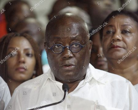 Ghanaian Opposition Leader of the New Patriotic Party (npp) Nana Akufo-addo (c) Speaks to the Press Soon After He was Declared Winner of the 2016 Presidential Election at His Residence in Accra Ghana 09 December 2016 Ghana's Electoral Commission Announced the Result Late 09 December That Opposition Leader Nana Akufo-addo Had Won Elections with 53 8 Percent of the Vote Beating President John Mahama Ghana Accra