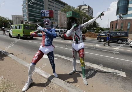 Supporters of Ghana President John Mahama (r) and Ghana Opposition Leader of the New Patriotic Party (npp) and Presidential Candidate Nana Akufo-addo Pose on a Street in Accra Ghana 12 November 2016 the General Presidential and Parliamentary Elections in Ghana Will Be Held on 07 December 2016 Ghana Accra