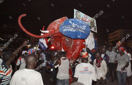 Stock Photo of Supporters of Ghana Opposition Leader of the New Patriotic Party (npp) Nana Akufo-addo Celebrate His Victory in the Presidential Elections on the Streets of Accra Ghana 09 December 2016 Ghana's Electoral Commission Announced the Result Late Friday 09 December That Opposition Leader Nana Akufo-addo Had Won Elections Beating President John Mahama Ghana Accra