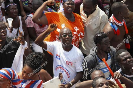 Ghanain Supporters of Opposition Presidential Candidate Nana Akufo-addo Take Part in a Protest Demanding the Electoral Commission to Declare the Election Results in the Presidential Elections in Accra Ghana 08 December 2016 Ghanaians Voted to Choose Between Seven Candidates Including Incumbent President John Dramani Mahama and the Main Oppostion Leader Nana Akufo-addo on 07 December Ghana Accra