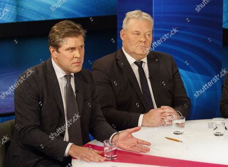 Iceland Minister of Finance Bjarni Benediktsson (l) Leader of the Independence Party and Prime Minister Sigurdur Ingi Johannsson (r) Leader of the Progressive Party During a Commercial Break in a Tv Debate on Channel 2 Between Leaders of the Icelandic Political Parties in Reykjavik Iceland 27 October 2016 General Elections Will Be Held in Iceland on 29 October According to Reports Never Before Have the Polls Been So Tight Between Political Parties in Iceland Iceland Reykjavik