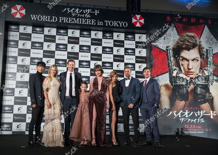 Cast Members (l-r) South Korean Actor Lee Joon-gi Us Actress Ali Larter British Director Paul W S Anderson Us Actress Ever Anderson Us Actress Milla Jovovich Japanese Actress Rola Cuban-us Actor William Levy and Irish Actor Eoin Macken Attend the World Premiere of 'Resident Evil: the Final Chapter' in Tokyo Japan 13 December 2016 the Film Will Hit Screens Across Japan From 23 December Japan Tokyo
