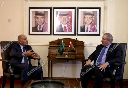 Secretary General of the Arab League Ahmad Abu Al-gheit (l) Meets with Jordanian Foreign Minister Nasser Judeh (r) in Amman Jordan 02 November 2016 Jordan Will Host the Arab League Summit After Yemen Apologized For not Being Able to Host the Meeting Jordan Amman