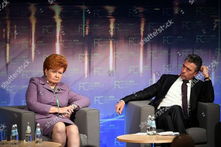 Former Latvian President Vaira Vike-freiberga (l) and Former Secretary General of Nato Anders Fogh Rasmussen During a Dissucion on Nato 360 Degrees 24/7 How to Deliver? at Riga Conference Latvia 28 October 2016 Latvia Riga
