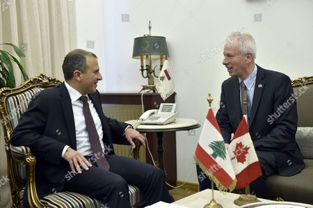 Lebanese Foreign Minister Gebran Bassil (l) Welcomes Canadian Foreign Minister Stephane Dion (r) at the Foreign Ministry in Beirut Lebanon 05 December 2016 Dion is on an Official Visit to Meet with Lebanese Officials Lebanon Beirut