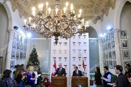 Canadaian Foreign Minister Stephane Dion (c-l) and His Lebanese Counterpart Gebran Bassil (c-r) Speak at a Joint News Conference After Their Meeting at the Foreign Ministry in Beirut Lebanon 05 December 2016 Dion is on an Official Visit to Meet with Lebanese Officials Lebanon Beirut