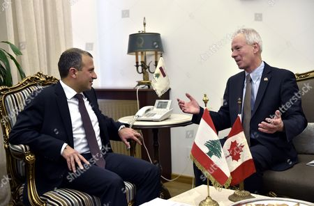 Stock Picture of Lebanese Foreign Minister Gebran Bassil (l) Welcomes Canadian Foreign Minister Stephane Dion (r) at the Foreign Ministry in Beirut Lebanon 05 December 2016 Dion is on an Official Visit to Meet with Lebanese Officials Lebanon Beirut