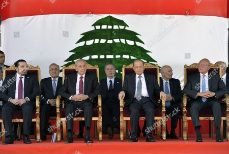 Lebanese President Michel Aoun (2-r) Parliament Speaker Nabih Berri (2-l) Lebanese Prime Minister-designate Saad Hariri (l) and Lebanese Caretaker Prime Minister Tammam Salam (r) Attend 73th Anniversary of Lebanon Independence Day in Beirut Lebanon 22 November 2016 Lebanon Celebrates the Independence Day to Commemorate the Liberation From the French Mandate on 22 November 1943 Lebanon Beirut