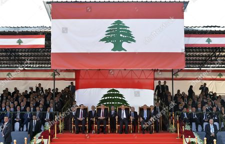 Stock Photo of Lebanese President Michel Aoun (2-r) Parliament Speaker Nabih Berri (2-l) Lebanese Prime Minister-designate Saad Hariri (l) and Lebanese Caretaker Prime Minister Tammam Salam (r) Attend 73th Anniversary of Lebanon Independence Day in Beirut Lebanon 22 November 2016 Lebanon Celebrates the Independence Day to Commemorate the Liberation From the French Mandate on 22 November 1943 Lebanon Beirut