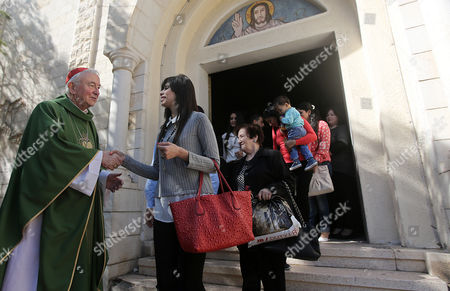 Cardinal Vincent Nichols (l) Archbishop of Westminster Greets Christian Faithful at the Holy Family Catholic Church in the Old Part of Gaza City 06 November 2016 Cardinal Vincent Nichols Vice-president of the Council of Bishop's Conferences Archbishop of Westminster and President of the Catholic Bishops' Conference of England and Wales is on an Official Visit to Gaza --- Gaza
