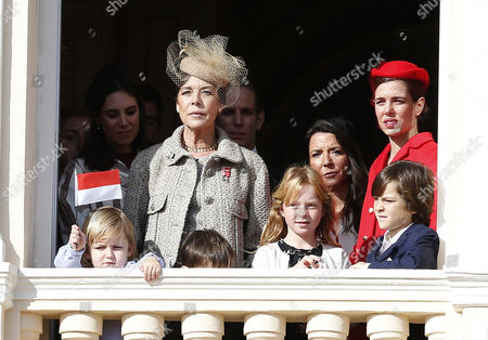 Princess Caroline of Hanover (c) Attends with Sacha Casiraghi (l) Son of Andrea Casiraghi Tatiana Santo Domingo (2-l) Andrea Casirgahi (2-r) and Charlotte Casirgahi (r) the Army Parade As Part of the Official Ceremonies For the Monaco National Day in Monte Carlo Monaco 19 November 2016 Monaco Monaco
