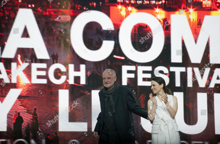 Hungarian Director and President of the Jury Bela Tarr (l) with Italian Actress Jasmine Trinca (r) Attends the Opening Ceremony of the 16th International Marrakech Film Festival in Marrakesh Morocco 02 December 2016 Morocco Marrakesh