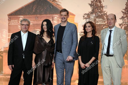 (l-r) Bulgarian Producer Stefan Kitanov Us Director Jessica Woodworth Belgian Actor Peter Van Den Begin Bulgarian Actress Nina Nikolina and French Actor Bruno Georis During the Photocall For the Movie 'King of the Belgian' at the 16th Marrakech International Film Festival in Marrakech Morocco 03 December 2016 the Festival Runs From 02 to 10 December Morocco Marrakech