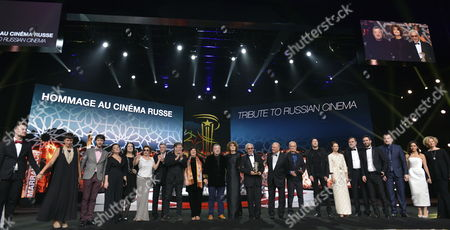 The Russian Delegation Stands on Stage During a Tribute to Russian Cinema at the 16th Annual Marrakech International Film Festival (fifm) in Marrakech Morocco 07 December 2016 the Festival Runs From 02 to 10 December in Picture is Seen Russian Movie Director and President of the Russian Delegation Karen Shakhnazarov (10-r) Morocco Marrakech