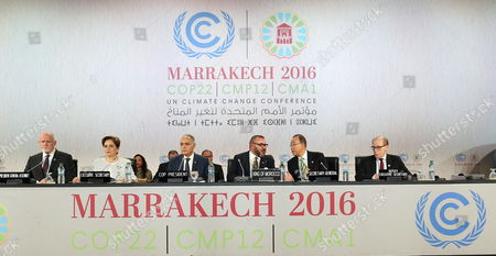 Executive Secretary of the Un Framework Convention on Climate Change Patricia Espinosa (2-l) Moroccan Foreign Minister Salaheddine Mezouar (3-l) Moroccan King Mohammed Vi (3-r) and United Nations Secretary-general Ban Ki-moon (2-r) Attend at the World Climate Change Conference 2016 (cop22) in Marrakech Morocco 15 November 2016 the Un Climate Change Conference Cop22 is Held Between 07 and 18 November in Marrakech Morocco Marrakech