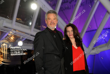 French Director Arnaud Des Pallieres (l) and French Screenwriter Christelle Berthevas (r) Pose on the Red Carpet Upon Their Arrival For the Movie 'Orphn' During the 16th Annual Marrakech International Film Festival in Marrakech Morocco 08 December 2016 the Festival Runs From 02 to 10 December Morocco Marrakech