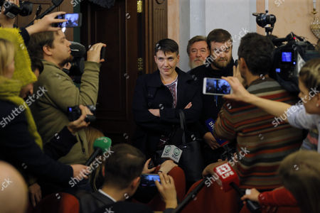 Deputy of Ukrainian Parliament Verkhovna Rada Nadezhda Savchenko (c) Attends a Session of Russian Supreme Court Hearing an Appeal to Review the Sentence of Two Ukrainians in Moscow Russia 26 October 2016 Nadezhda Savchenko Arrived to Support Nikolai Karpyuk and Stanislav Klykh who Are Accused of Killing 30 Russian Soldiers While Taking Part in Combat Actions on Separatist Side in Chechen Republic in December 1994 to January 1995 the Supreme Court Left the Appeal Without Satisfaction Nadezhda Savchenko Came to Russia For the First Time After Her Release From Russian Prison 25 May 2016 Russian Federation Moscow