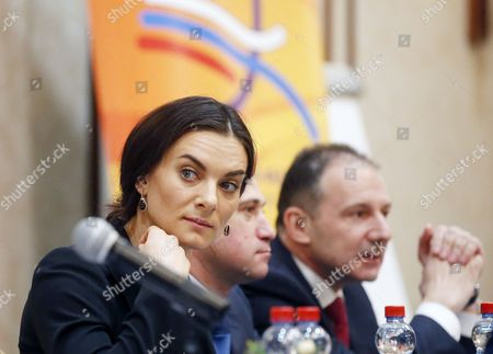 Russian Olympic Champion Pole Vaulter Yelena Isinbayeva (l) Takes Part in the Russian Track and Field Federation Conference to Elect Their New President in Moscow Russia 09 December 2016 Russian National Track and Field National Team was Banned to Take Part in the Olympic Games in Rio Due to Mass Anti- Doping Rules Violation Russian Federation Moscow