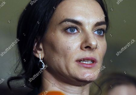Stock Image of Russian Olympic Champion Pole-vaulter and Russia's Representative in Wada Yelena Isinbayeva Talks to the Media As She Takes Part in the Russian Track and Field Federation Conference to Elect Their New President in Moscow Russia 09 December 2016 Russian National Track and Field National Team was Banned to Take Part in the Olympic Games in Rio Due to Mass Anti- Doping Rules Violation Russian Federation Moscow